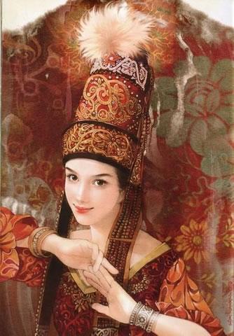 民族发型_哈萨克族美女发型